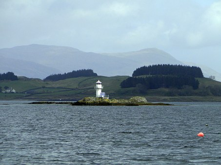 Lighthouse, Lonely, Island, Scotland
