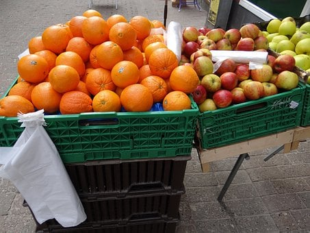 Oranges, Apples, Fruit, Greengrocer, Fruit Boxes