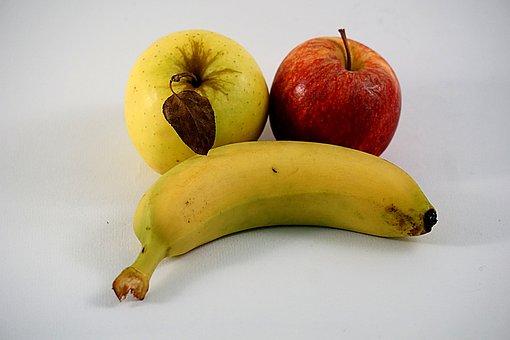 Fruit, Apples And Bananas, Power, Red, Banana, Yellow