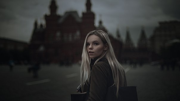Girl, Red Square, Gloominess, Dark, Books, The Kremlin