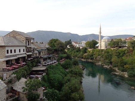 Mostar, Bosnia, Herzegovina, Mosque, Islam, River