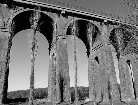 Viaduct, Black, Bridge, Railway, White, Robust