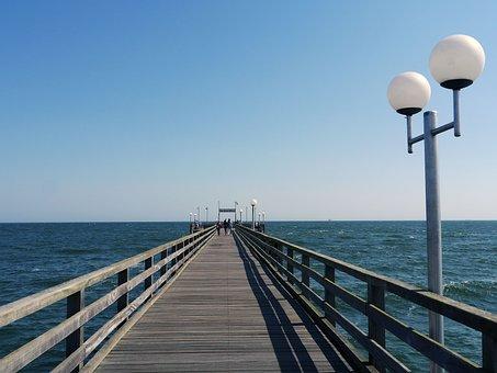 Sea Bridge, Binz, Rügen, Baltic Sea, Planks, Railing