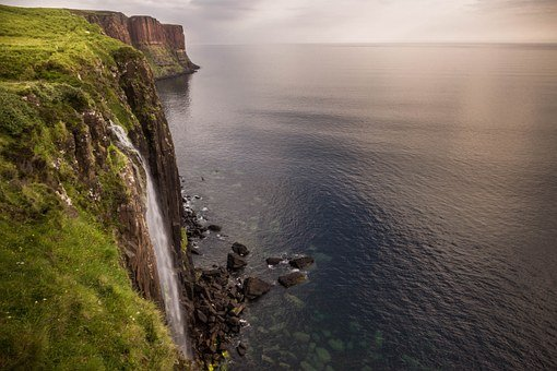 Isle Of Skye, Waterfall, Sea, Scotland, Skye, Green