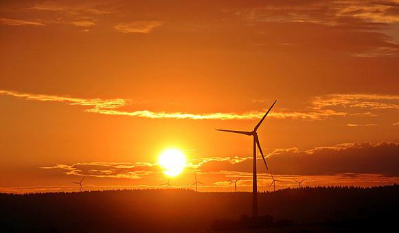 Sunrise, Sun, Pinwheel, Windräder, Clouds, Forest