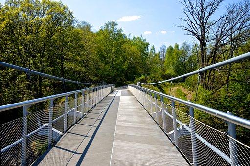 Eifel, Bridge, Hiking, Target, Steel Cables, Away