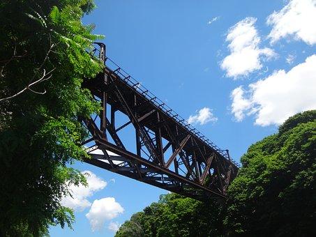Train Bridge, Bridge, Iron, Transportation