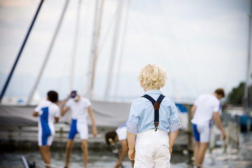 Child, Port, Water Sports, Boy, Blond, Move, Ship, Sea