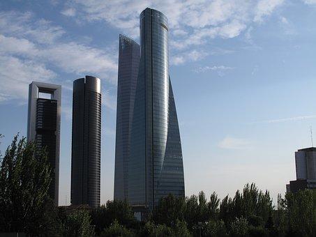 Skyscraper, Four Towers, Madrid, Sky, Spain, Business