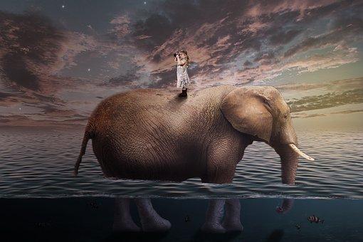 Travel, Elephant, Child, The Little Girl, Surrealism