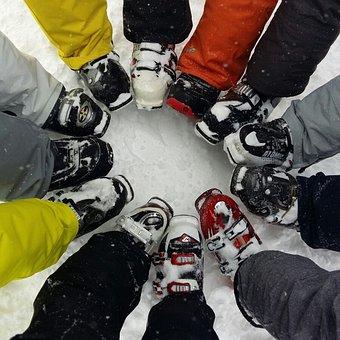Ski, Snow, Boot, Boots Reunited, Ski Boots, Circle