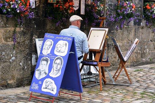Drawing, Caricature, Artistic, City, Portrait, Man
