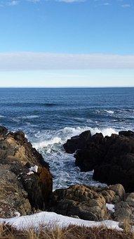 Atlantic Ocean, Rocks, Cliffs, Clear Skies, Water, Snow