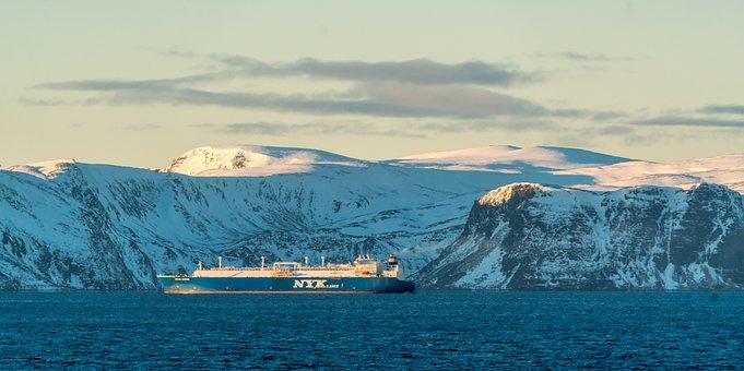 Norway, Coast, Ship, Fjord, Snow, Mountains