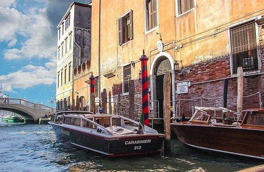 Venice, Italy, Police, Polizia, Carabinieri, Canal