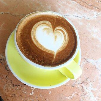 Coffee, Latte, Latte Art Heart, Espresso, Cup, Drink