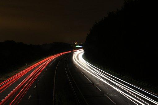 Lights, Night, Motorway, Blur, Motion, Transportation