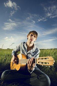 Guitarist, Bard, Man, Guitar, Standing, Musician