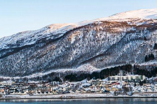 Norway, Coast, Architecture, Fjord, Snow, Mountains