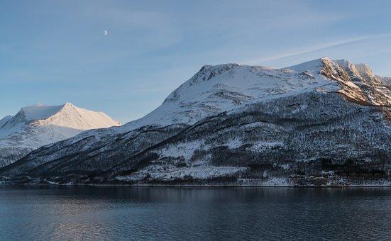 Norway, Fjord, Snow, Mountains, Coast, Scandinavia