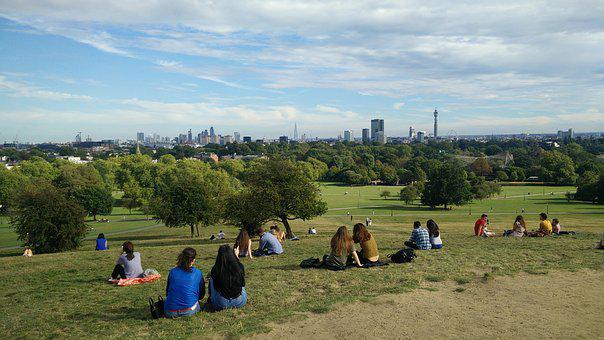 People Sitting, Primrose Hill, View, Park, London