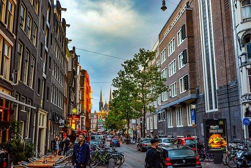 Amsterdam, Street, Pedestrian, Storm, Light, Dutch