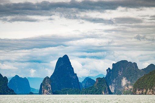 Mountains, Tropical, Thailand, Phang Nga, Islands