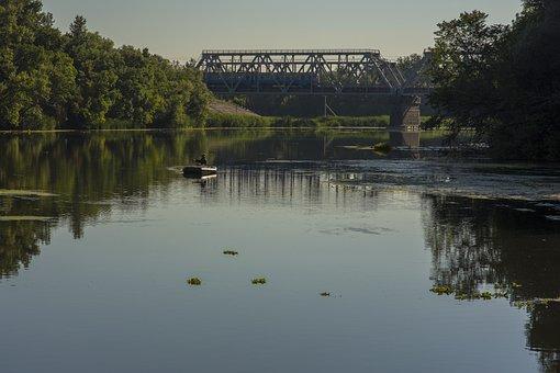 Ukraine, River, Bridge, Railway, Train, Boat, Fisherman