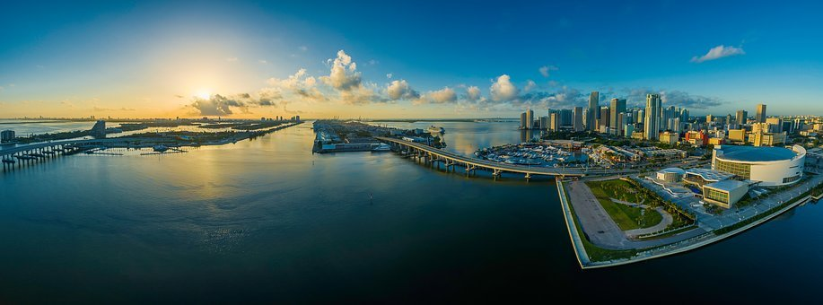 Panorama, Miami, Florida, Water, Usa, City, Skyscraper