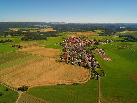 Vöhl, Buchenberg, Place, Village, Aerial View