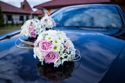 Auto For Wedding, Wedding, Flowers, Wedding Car