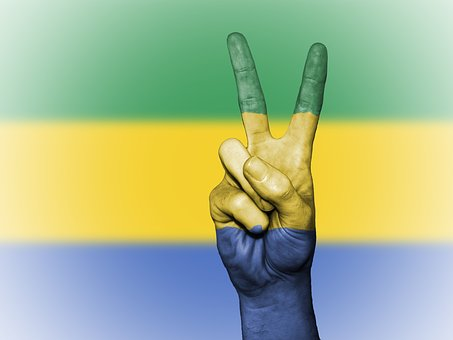 Gabon, Peace, Hand, Nation, Background, Banner, Colors