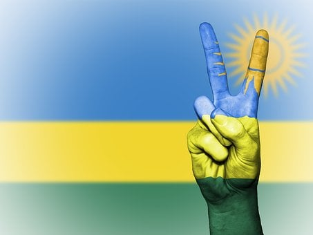 Rwanda, Peace, Hand, Nation, Background, Banner, Colors