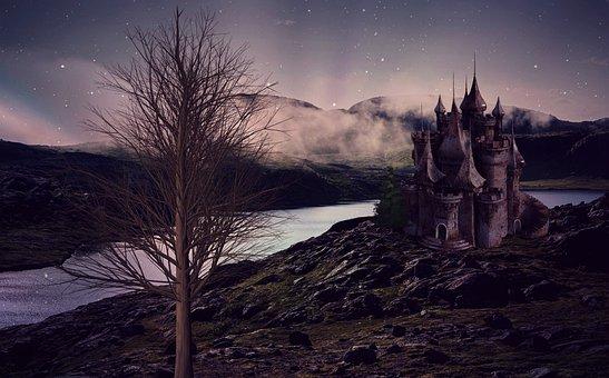 Castle, Landscape, Lake, River, Fortress, Building
