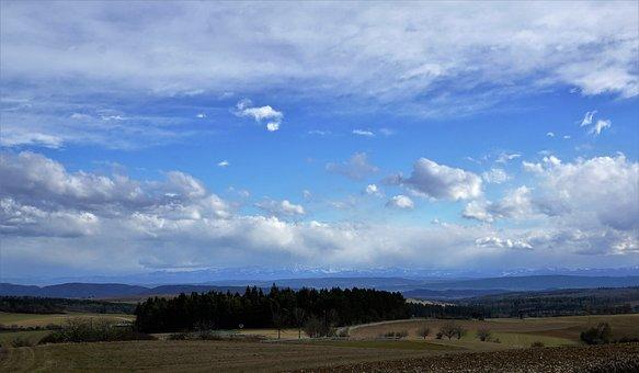 Germany, Switzerland, Alpine, Clouds, Field, Nature