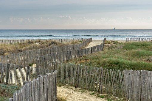 Landscape, Beach, Dunes, Sand, Sea View, Sailing Boat