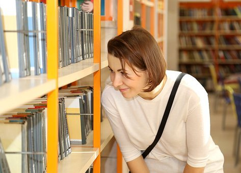 Library, Books, Girl, Reading, Literature, Education