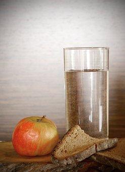 Apple, Bread, Water, Dry, Eat, Food, Karg, Mager