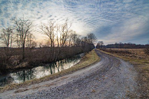 Road, Sky, Sunset, Waterway, Gravel, Curved