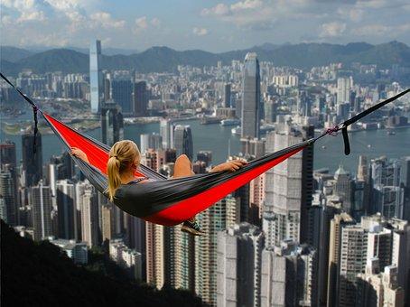 Hong Kong, Hammock, Girl, Relaxation