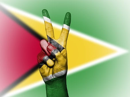 Guyana, Peace, Hand, Nation, Background, Banner, Colors
