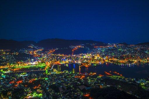 Night View, Nagasaki, Japan, Kyushu, Cityscape, Light