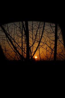 Sunset, Dark, Shadow, Sun, Mirror, Reflection