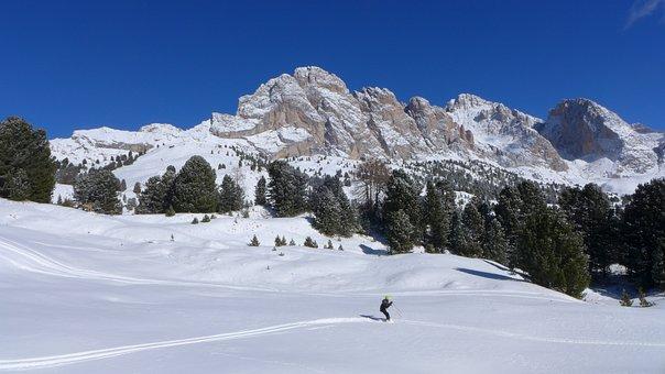 Skiing, Dolomites, Snow, Val Gardena, Mountain