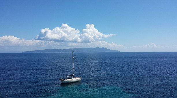 Island Lily, Tuscany, Nature, Sea, Cloud, Boat