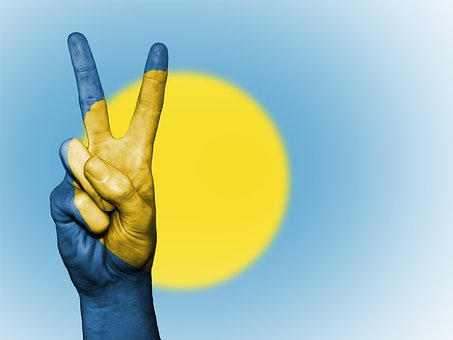 Palau, Peace, Hand, Nation, Background, Banner, Colors
