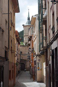 Spain, Road, Old Town, Village, Church, Alley, Retro