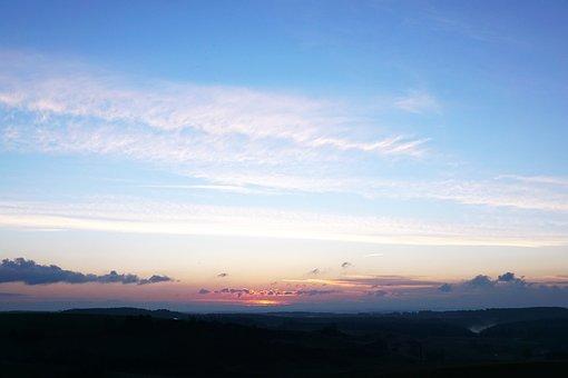 Sunrise, Hegau, Sky, Morning, Blue, Sun, Emergence