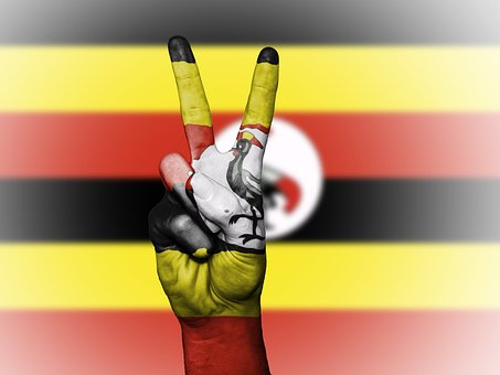 Uganda, Peace, Hand, Nation, Background, Banner, Colors