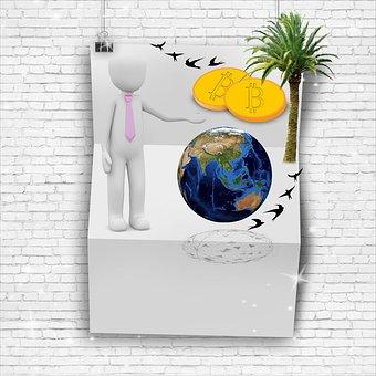 Newsletter, News, Terrestrial Globe, Bitcoin, Currency